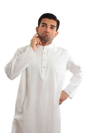 qameez: A middle eastern dressed man wearing a kurta, robe, thobe, is looking quite worried and troubled.