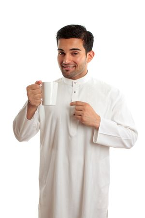 thoub: Smiling ethnic arab man wearing a robe, thobe, Kurta, dishdasha, etc.   He is enjoying a cup of coffee.  The coffee bean plant was first recognized in Yemen in Arabia and the north east of Ethiopia, and the cultivation of coffee first expanded in the Arab