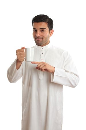 thoub: An arab ethnic man wearing dishdasha, kurta, robe -  showing coffee.   Coffee originated in Yemen as a brew that stimulated the working hours, from there it spread to Egypt and Turkey, then Italy and around the world.