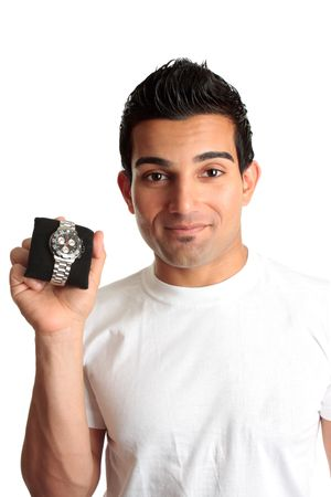 A man showing a mens chronograph watch.   Logos removed and watch face modified photo