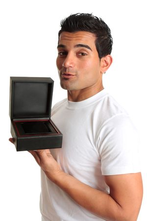 jewellery box: A man (consumer or retailer)  holds or advertises a black gift box or jewellery box in an open position.  Add your item, logo or message. Stock Photo