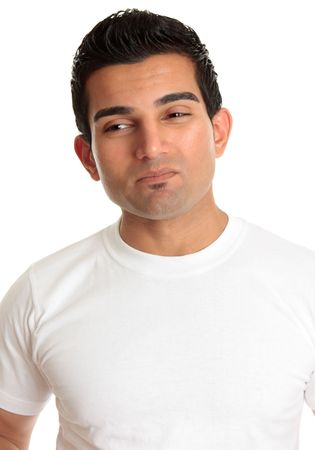 wincing: A man with a serious problem or dilemma.  He has tight lips and is wincing, eyes looking sideways.