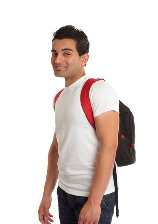 Ethnic male mixed race student standing with a backpack rucksack on his back and smiling photo