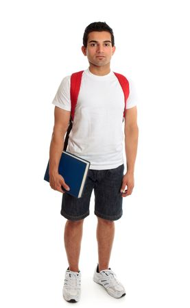 italian ethnicity: Full body casual college or university student standing on a white background.  Shadows under shoes.
