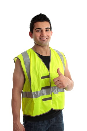 Confident builder,  handyman, tradesman, repairman, giving a thumbs up approval success gesture.   White background photo