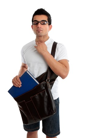 Ethnic male student holding a book and satchel, looking sideways.  White background photo