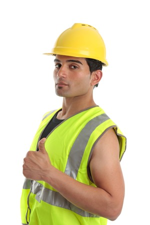 italian ethnicity: a builder, tradesman, repairman or other labourer giving the thumbs up hand sign.  White background. Stock Photo