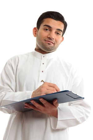 qameez: Ethnic arab mixed race businessman with pen and clipboard folder.  White background.