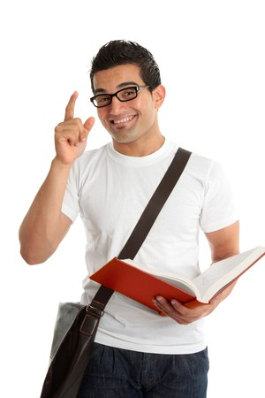 arab people: A smiling male university or college student with a question or answer.  He is holding an open textbook.  White background.