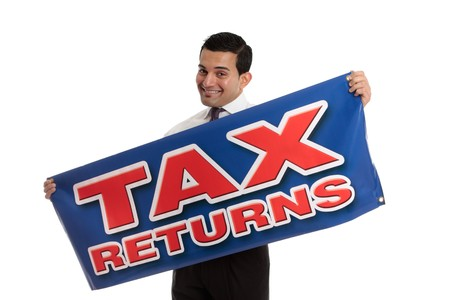 cpa: An accountant, tax agent, tax auditor or businessman holding a sign.  White background. Stock Photo