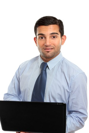 A businessman, office worker or IT consultant using a laptop computer.  White background. Stock Photo - 7362191