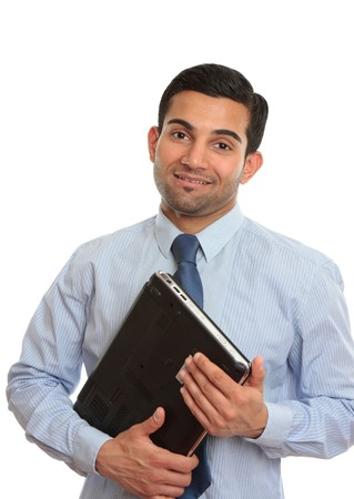 arab people: A smiling IT consultant, technician or salesman holding a laptop computer.  White background, Stock Photo