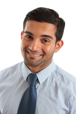 arab men: Professional businessman or other white collar worker, smiling in a friendly manner. Stock Photo