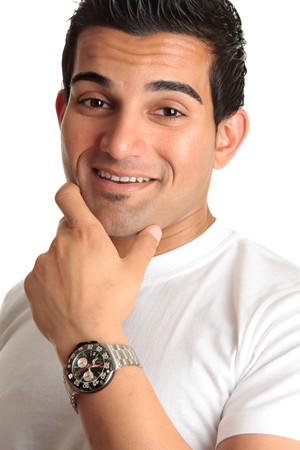 Happy laughing smiling casually dressed man wearing a chronograph watch.  White background.