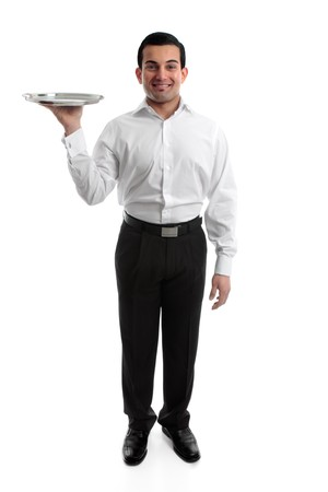 waiter serving: Smiling waiter or servant holding a silver tray.  White background. Stock Photo