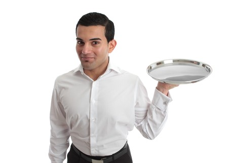 barman: A waiter or bartender with an empty silver tray, ready for your product.  White background.