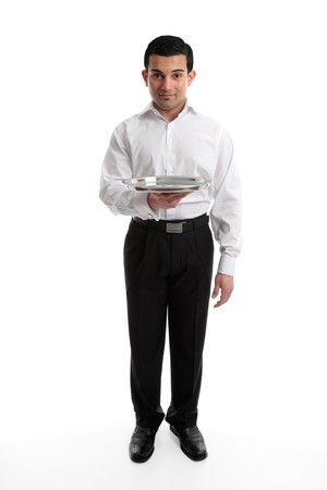 Servant, barman or waiter holding an empty silver tray.  Ready for your product if required.  White background. Stock Photo - 7504968