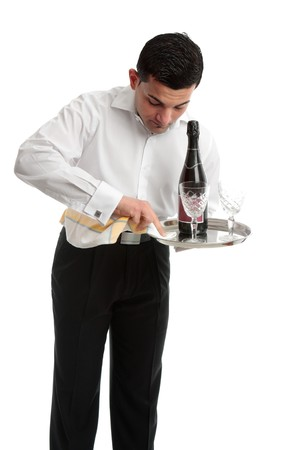 domestic staff: A waiter, barman or domestic staff at work.  White background.