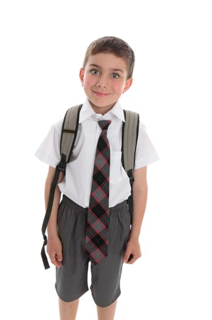 scholastic: Little boy ready for his first day of school Stock Photo
