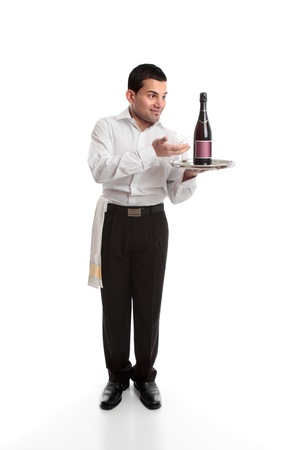 tred: Waiter or bartender presenting a bottle on a silver platter.  White background.
