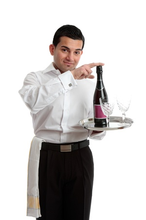 tred: A bartender or waiter recommending wine or champagne.