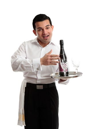 tred: Jovial waiter, servant or bartender carrying a bottle of wine on a tray. White background.