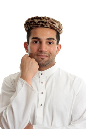thoub: Happy ethnic man wearing traditional cultural clothing.  White background.