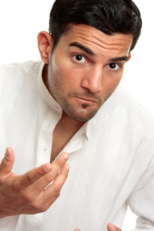italian ethnicity: Adult man looking questioning and gesturing with one hand.  White background.