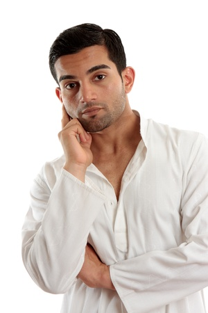 qameez: A handsome man pensive or thinking Stock Photo