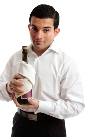A waiter or a servant holds a bottle of wine or champagne.  White background. Stock Photo - 8468419