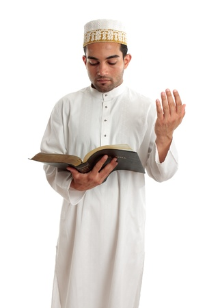 righteous: Teacher or preacher reading from a religious book, or other literary book.  White background.