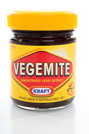 A jar of vegemite.   Vegemite is used as a spread on bread, toast and dry wafer biscuits and improves the flavour of soups, stews and gravies Editorial