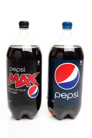 caffeinated: Bottles of softdrink,  carbonated cola drink,  Pepsi and sugar free Pepsi Max