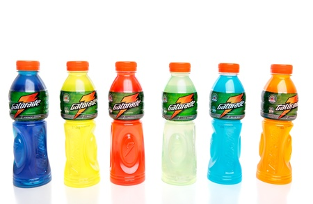 Bottles of Gatorade manufactured by Schweppes. Contains electrolytes and carbohydrates to rehydrate lost fluids and refuel muscles.  White background.  Flavours are: Fierce Grape, Lemon-Lime, Tropical, Lime Storm   Blue Bolt, Orange Ice.   Editorial use o