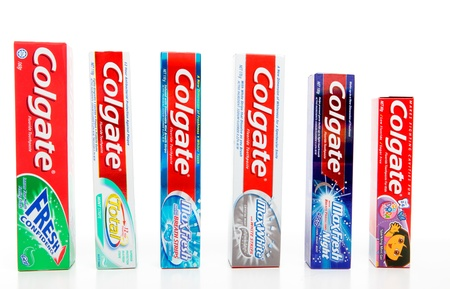 A variety of Colgate toothpastes.  Fresh Confidence, Total 12hr Protect, MaxFresh with breath strips, MaxFresh with whitening strips, MaxFresh Night, Colgate Junior for ages 2 to 6yrs.  White background.  For editorial use only.
