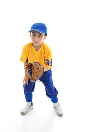 mitt: Baseball, softball or t-ball catcher ballplayer crouching with mitt.  White background.