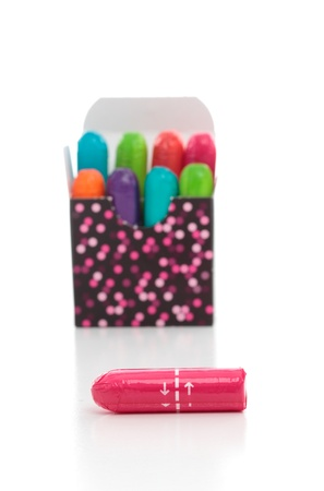 Box of U by Kotex bright coloured tampons manufactured by Kimberley-Clark Worldwide Stock Photo - 8844378