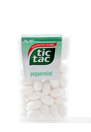 A container of Tic Tac peppermint mints 24g.  Each mint contains 2 calories.  Tic Tacs are owned by Ferrero.