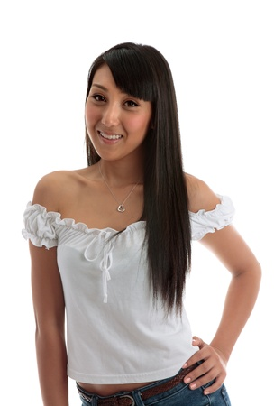 Beautiful smiling young asian/caucasian woman with hand on hip on a white background. Model Jessica Elms