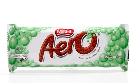 Nestle Aero bar minty bubbles covered in milk chocolate. 40g (453kj)  White background.  Editorial Use only.