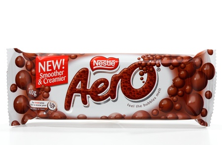 Nestle Aero chocolate bar, a light and bubbly chocolate bar 40g ((450kj)  that was developed by Rowntree and now owned by Nestle. Sold throughout the world  White background.  Editorial use only.
