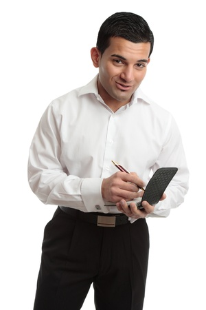 Waiter taking an order or worker jotting down notes in a notepad.  White background. Stock Photo - 10048918