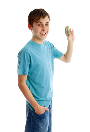 Happy boy holding rolled up bank notes. Stock Photo - 10114747