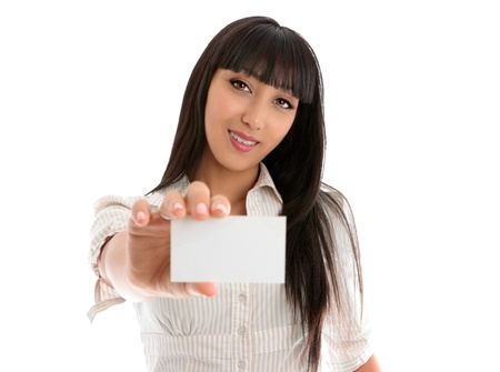 eg: Confident smiling young beautiful woman holding out a business card, club card or any other type of card. eg: bank card, student card, place card.