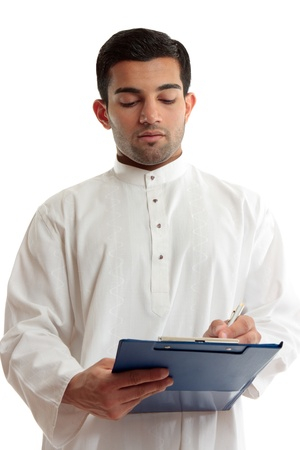 qameez: A traditional dressed arab or middle eastern south asian businessman or salesman writing in a blue clipboard folder.
