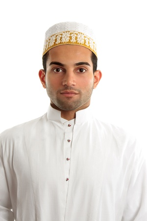 kurta: A middle eastern arab man wearing traditional ethnic cultural clothing.