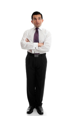 Business man arms folded looking up at your message or thinking pondering. Stock Photo - 10438928