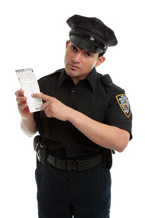police unit: A policeman, traffic warden holding an infringement violation notice, ticket, fine.  White background.