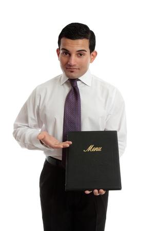 A businessman restauranteur presenting, showing a leatherbound menu. photo
