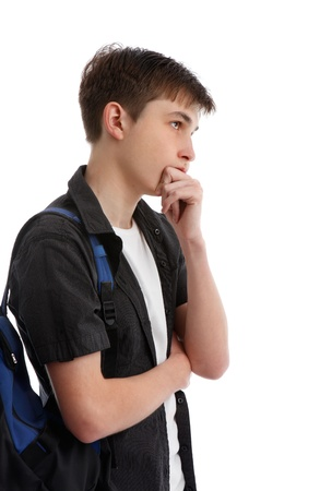 A student making a decision, thinking, pondering, analysing, etc.  White background.
